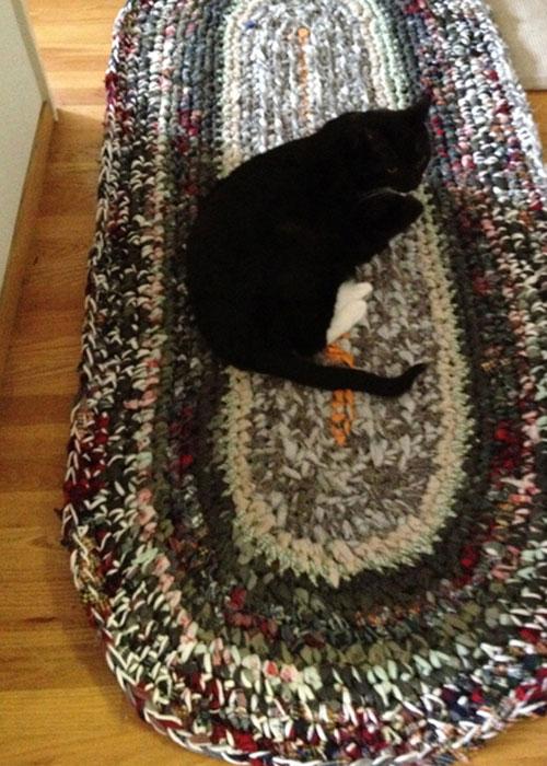 crochet rag rug with Cat